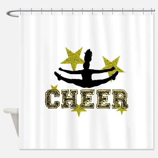 Cheerleader Gold and Black Shower Curtain