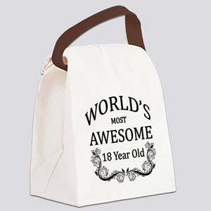 World's Most Awesome 18 Year Old Canvas Lunch Bag