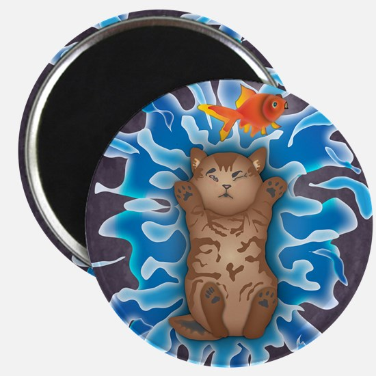 Water Splash Cat Goldfish Magnets