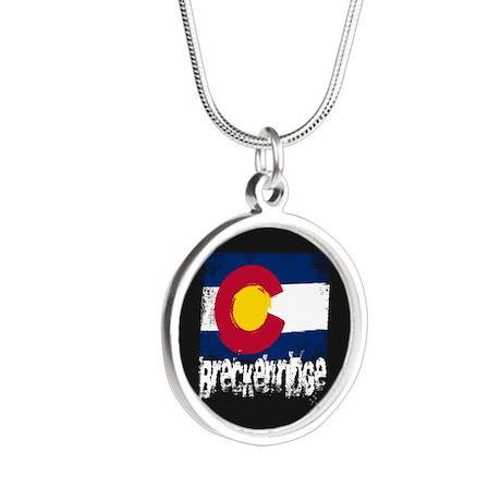 Breckenridge Grunge Flag Silver Round Necklace