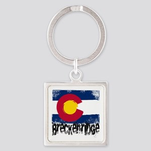 Breckenridge Grunge Flag Square Keychain