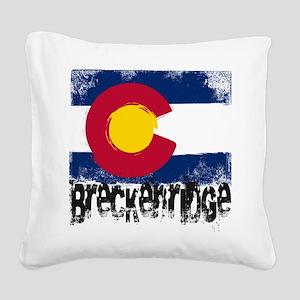 Breckenridge Grunge Flag Square Canvas Pillow