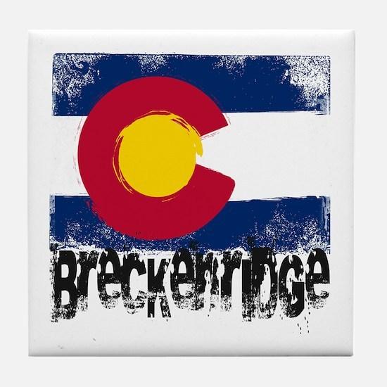 Breckenridge Grunge Flag Tile Coaster