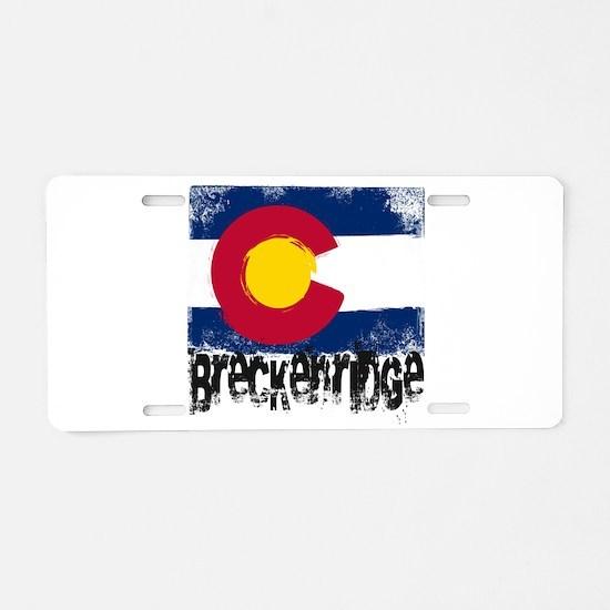 Breckenridge Grunge Flag Aluminum License Plate