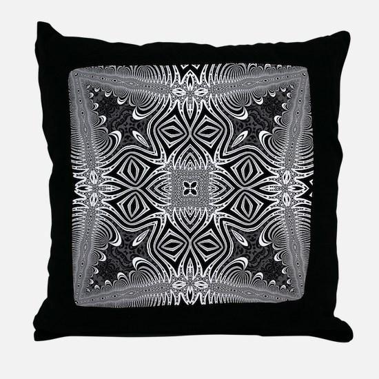 Black White Silver Geometry Throw Pillow