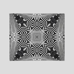 Black White Silver Geometry Throw Blanket