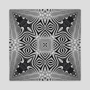 Black White Silver Geometry Queen Duvet