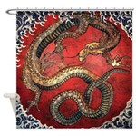 Hokusai Red Water Dragon - Shower Curtain