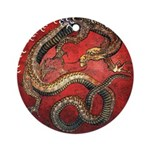Hokusai Red Water Dragon - Ornament (Round)