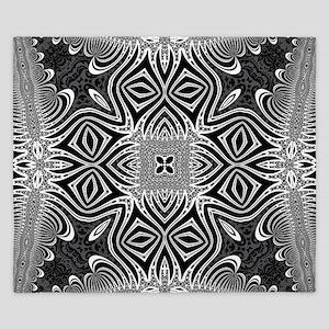 Black White Silver Geometry King Duvet