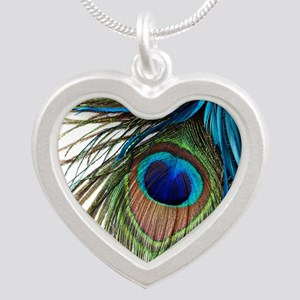 Peacock Feathers Silver Heart Necklace