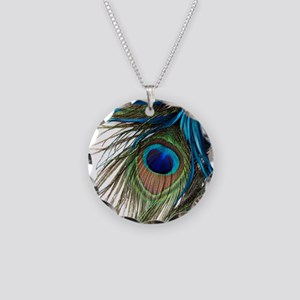 Peacock Feathers Necklace Circle Charm