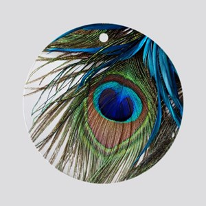 Peacock Feathers Round Ornament
