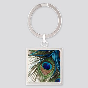 Peacock Feathers Square Keychain