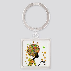 Flower Power Lady Square Keychain