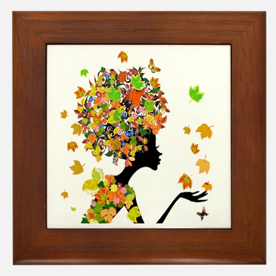 Flower Power Lady Framed Tile