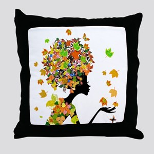 Flower Power Lady Throw Pillow
