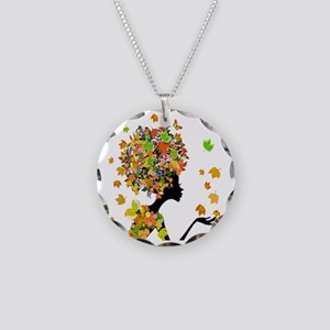 Flower Power Lady Necklace Circle Charm