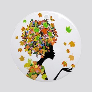 Flower Power Lady Round Ornament