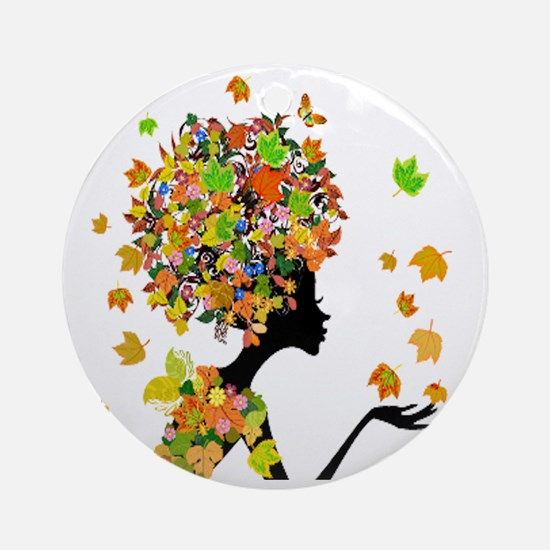 Flower Power Lady Round Ornament