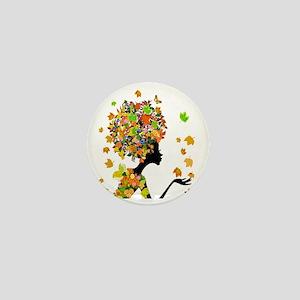 Flower Power Lady Mini Button