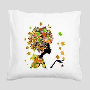 Flower Power Lady Square Canvas Pillow