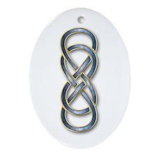Double Infinity Cloisonne Blue Gold - Ornament (Ov