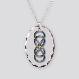 Double Infinity Blue - Necklace Oval Charm