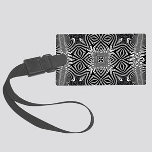 Black White Silver Geometry Large Luggage Tag