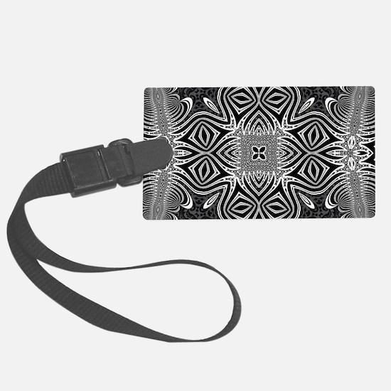 Black White Silver Geometry Large Luggage Tag