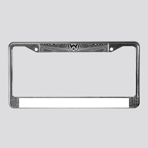 Black White Silver Geometry License Plate Frame