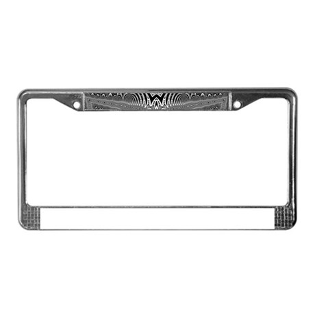 Black White Silver Geometry License Plate Frame by Admin_CP3177865