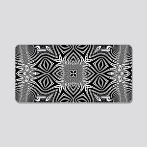 Black White Silver Geometry Aluminum License Plate