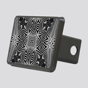 Black White Silver Geometr Rectangular Hitch Cover