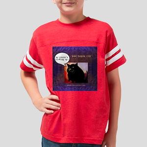 Funny Fat Black Cat Phone Des Youth Football Shirt