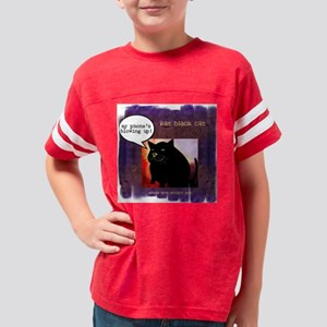 Funny Fat Black Cat Phone Youth Football Shirt