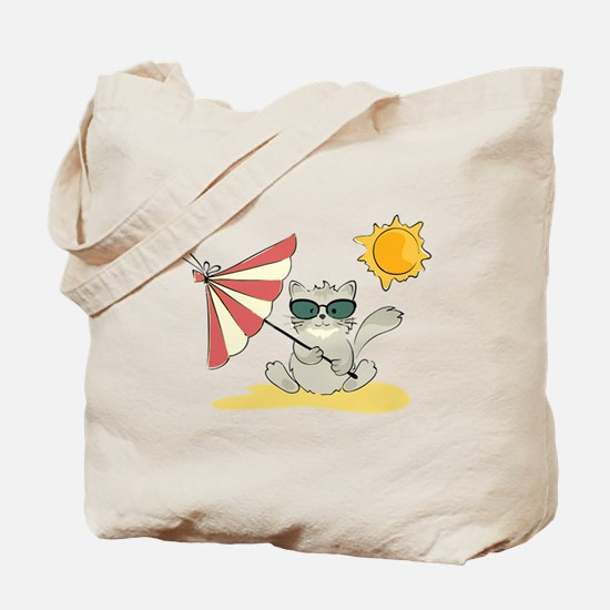 Cool Beach Cat with Umbrella and Sunglasses Tote B