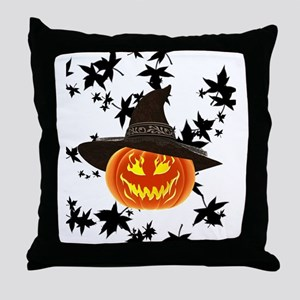 Grinning Pumpkin Throw Pillow