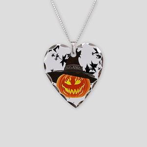 Grinning Pumpkin Necklace Heart Charm
