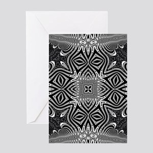 Black White Silver Geometry Greeting Cards