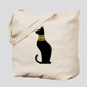 Black Eqyptian Cat with Gold Jeweled Collar Tote B