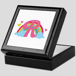 Letter R Rainbow Monogrammed Keepsake Box