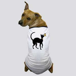 Elegant Black Cat with Gold Collar Butterfly Dog T