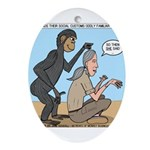 Monkey Grooming Ornament (Oval)