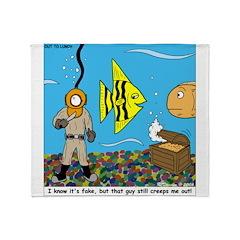 Fish Tank Diver Throw Blanket