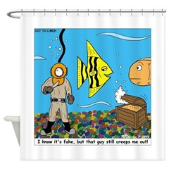 Fish Tank Diver Shower Curtain