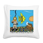 Fish Tank Diver Square Canvas Pillow