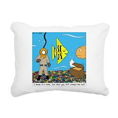 Fish Tank Diver Rectangular Canvas Pillow
