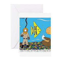 Fish Tank Diver Greeting Cards (Pk of 10)