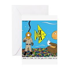 Fish Tank Diver Greeting Card